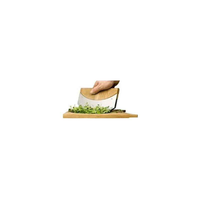 tagliere quercia con mezzaluna