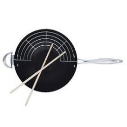 wok con griglia+bastoncini legno da 32cm.